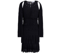 Shirred Eyelet-embellished Crepe Mini Dress Black