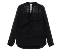 Radiate Pussy-bow Lace-paneled Fil Coupé Gauze Blouse Black Size 0