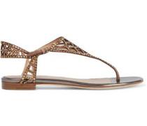 Tresor Crystal-embellished Laser-cut Suede Sandals Antique Rose