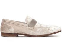 Woman Bead-embellished Velvet Loafers Platinum