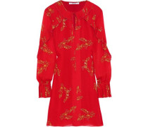 Pleated Floral-print Crepe De Chine Mini Dress Red Size 0
