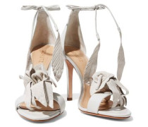 Embossed nubuck and leather sandals