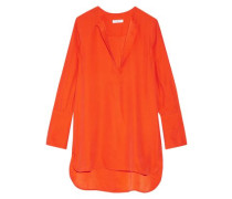 Silk Satin-crepe Blouse Bright Orange