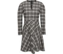 Woman Checked Flannel Mini Dress Mushroom
