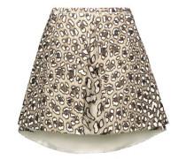 Pleated leopard-print cotton-twill mini skirt