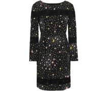 Lace-trimmed Printed Stretch-silk Mini Dress Black