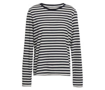Striped Cotton-jersey Top Navy Size 0
