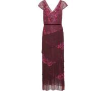 Fringed Embellished Chantilly Lace Midi Dress Plum