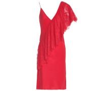 Lace-paneled Silk Crepe De Chine Mini Dress Red