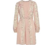 Pleated Floral-print Wool-crepe Mini Dress Blush