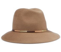 Bianca metallic leather-trimmed wool-felt fedora