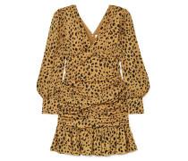 Ruched Leopard-print Silk-crepe Mini Dress