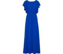 Ruffled Gathered Gauze Gown Cobalt Blue Size 12