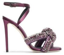 Knotted Crystal-embellished Satin Sandals Purple