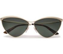 Cat-eye Gold-tone Mirrored Sunglasses Green Size --