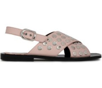 Sundance Studded Leather Slingback Sandals Pastel Pink
