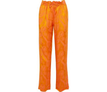 Jacquard Straight-leg Pants Orange