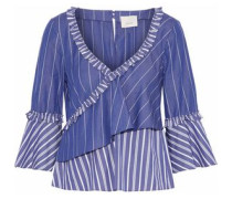 Wrap-effect ruffled striped cotton shirt