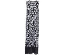 Mesh-paneled Cotton-blend Jersey Nightdress Black
