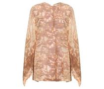 Lace-up Printed Silk-chiffon Blouse Beige