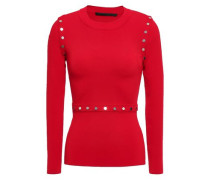 Snap-detailed Stretch-knit Top Red