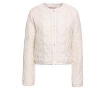Embellished Cotton-blend Jacquard Jacket Ivory
