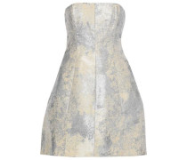 Strapless Metallic Jacquard Mini Dress Cream