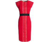 Guipure lace-paneled crepe dress