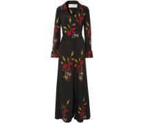 Wrap-effect Printed Silk-georgette Jumpsuit Black