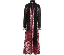 Draped Fil Coupé-paneled Silk-twill Maxi Dress Claret Size 12