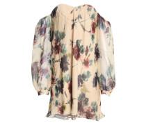 Off-the-shoulder printed silk crepe de chine mini dress