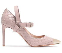 Woman Studded Quilted Leather Mary Jane Pumps Neutral