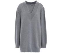 Frayed Mélange Cotton-blend Sweater Gray