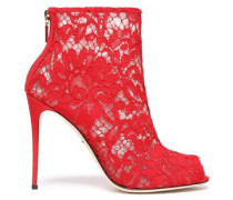 Corded lace and mesh ankle boots