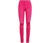 Distressed High-rise Slim-leg Jeans Fuchsia  4