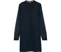 Divitra Georgette-paneled Embellished Silk-crepe Blouse Navy
