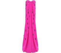 Strapless Gathered Appliquéd Crystal-embellished Crepe Gown Bright Pink