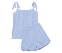 Val bow-detailed cotton-poplin gingham pajama set
