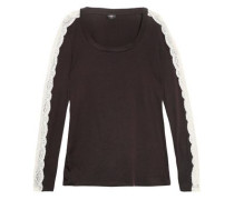 Lace-trimmed Cotton-blend Pajama Top Charcoal