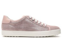 Smooth Leather-trimmed Glittered Textured-leather Sneakers Blush