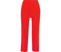 Cropped Button-detailed Wool-blend Crepe Straight-leg Pants Red