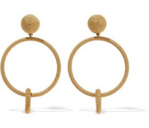 Gold-tone cord clip earrings
