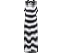 Striped Cotton-jersey Midi Dress Black