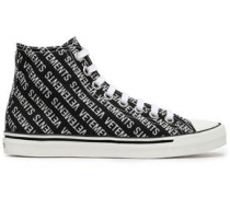 Embellished Printed Canvas High Top Sneakers Black