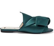 Knotted Satin Slides Emerald