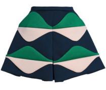 Paneled color-block neoprene mini skirt