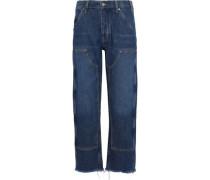 Phoebe frayed high-rise straight-leg jeans