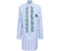 Ruffled Logo-appliquéd Striped Cotton-poplin Mini Shirt Dress Blue