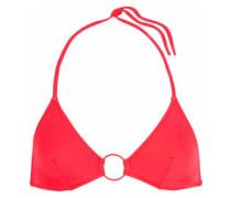 The Tania Ring-embellished Triangle Bikini Top Red