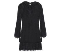 Pompom-trimmed Crochet-knit Hooded Coverup Black